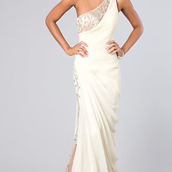 One Shoulder Evening Gown by Shimmer