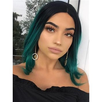 Short Black To Green Ombre Bob Synthetic Lace Front Wig