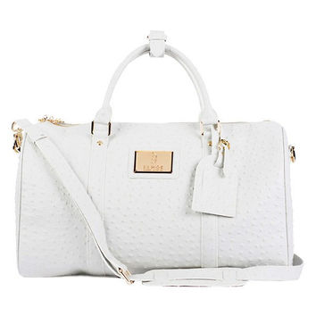 White Ostrich Leather Duffle Bag