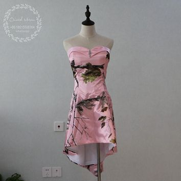 Custom Made High Low Realtree Camoflage Pink Camo Bridesmaid Dresses 2017 Cheap Bride Maid of Honor Dress Wedding Party Gowns