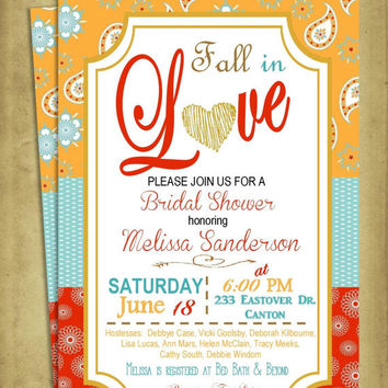 DIY Printable Bridal Shower Fall in Love with red burnt orange yellow blue and Heart Paisley