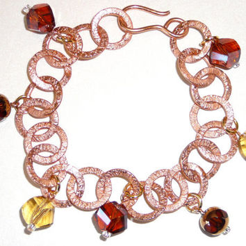 Etched Copper Loop Bracelet with Faceted Glass Drop Charms. Beadwork Bracelet. Bronze. Gold. Brown. Taupe. Jewelry Sale.