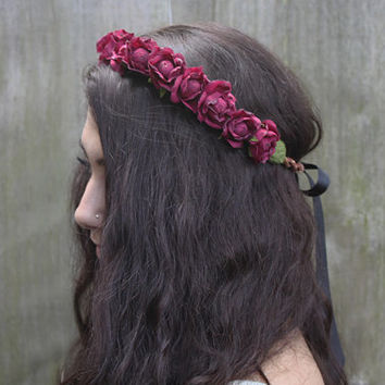 Oxblood Rose Flower Crown - Burgundy Rose Headband, Hair Wreath, Rose Crowns, Womans Hair Accessory, Red, Floral Crowns, Deep Red, Gift Idea