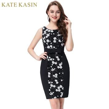 Short Black Dresses with Beading Flower Pattern Cocktail Party Dress