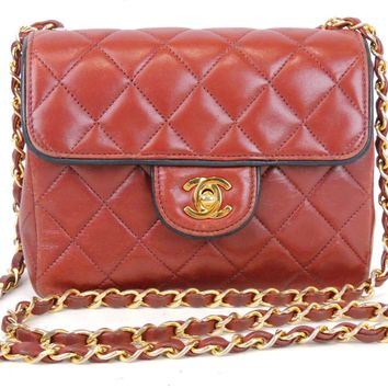 AUTHENTIC CHANEL QUILTED RED LAMBSKIN LEATHER 7'' CC FLAP CHAIN SHOULDER BAG