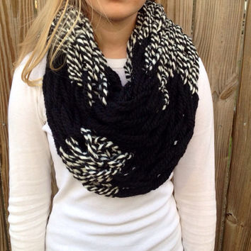Black and White Striped Arm Knit Infinity Scarf, arm knit scarf, arm knit cowl