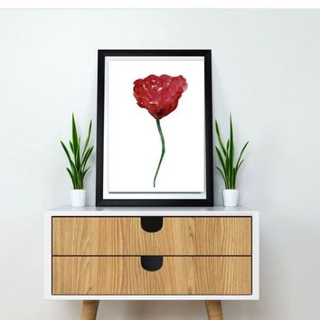 Minimalist flower, watercolor flower print, Poppy painting, minimalist art poster, botanical print, poppies wall decor, Large modern floral