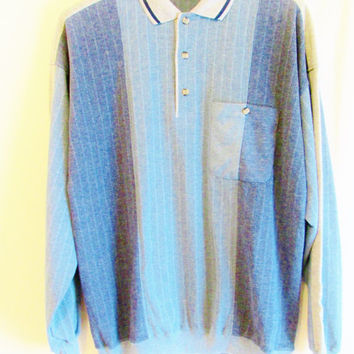Vintage 1980's Men's Ombre Blue Knit Shirt