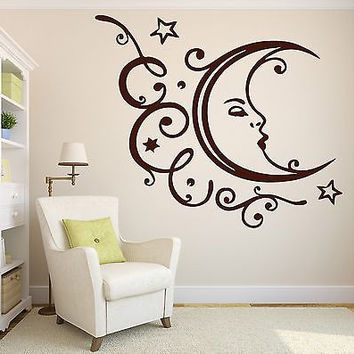 Wall Vinyl Sticker Decal Sleeping Moon Stars Clouds Relaxation Vacation (n211)
