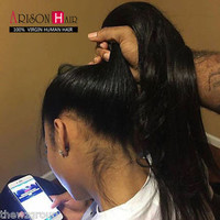 Glueless Full Lace Wig Virgin Brazilian Human Hair Silk Straight Lace Front Wigs