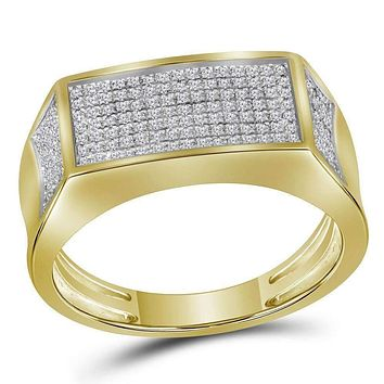 10kt Yellow Gold Men's Round Diamond Rectangle Cluster Band Ring 1/3 Cttw - FREE Shipping (US/CAN)