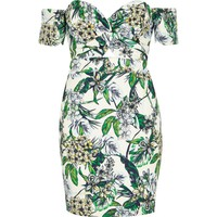 Petite cream floral print bardot midi dress - Bodycon Dresses - Dresses - women