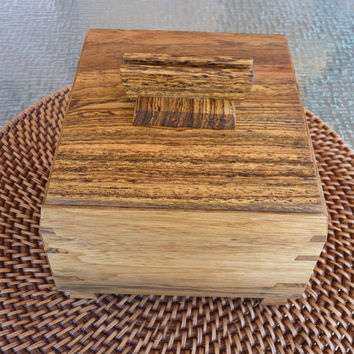 Handcrafted Black Limba & Bocote Jewelry/ Keepsake Box with Decorative Handle