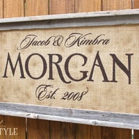 Personalized Family Name Sign, Last Name Sign with Established Date, Barn Wood & Burlap