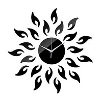 Acrylic Sunflower Mirror Living Room Wall Clock   black