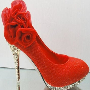 Flower Embellished Round Closed Toe Super High Stiletto Red PU Wedding Shoes     NX10314209-1