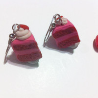 Pretty in Pink Cake Slice Earrings, Strawberry Cake Earrings, Hearts, Valentines Days, Gift Ideas, Polymer Clay Charms, Food Jewelry, Kawaii