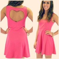 Rosewood Fuchsia Heart Cutout Skater Dress