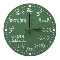 Maths Mathematical Equations Clock with Minutes from Zazzle.com