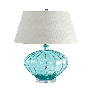 210 Recycled Fluted Glass Urn Table Lamp In Blue