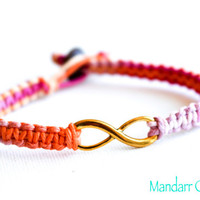 CLEARANCE SALE - Sherbert Infinity Bracelet, Gold Tone Charm, Ready to Ship Couples Bracelet, His Hers, Best Friends