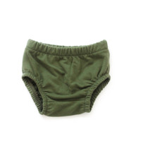 French Terry Baby Bloomers in Moss