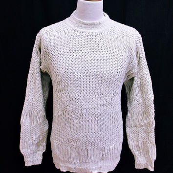 Vintage 90s White Shaker Acrylic Knit Jumper Sweater Medium