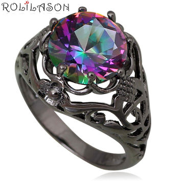 Black gold Mysterious Rainbow Mystic Topaz Zircon 925 Silver filled Topaz Stamped Ring sz #6 #7#8 #9 JR2070