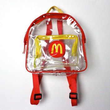 hella 90s.........McDonalds CLEAR PVC plastic mini Club Kid SPORTY Backpack bag