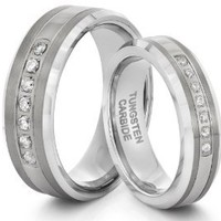 His & Her's 8mm/6mm Tungsten Carbide Silver CZ Wedding Band Ring Set (Available Sizes 4-14 Including Half Sizes)