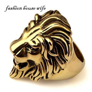 Fashion House Wife Mens Large Size Hip hop Ring Stainless Steel Gold Lion King Head Ring Punk Style Jewelry For Male/