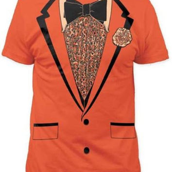 Tuxedo Orange Shirt TUX Joke Faux Prom Wedding Groom Costume Outfit Mens