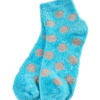 Shea-Infused Lounge Socks Blue with Silver Dots