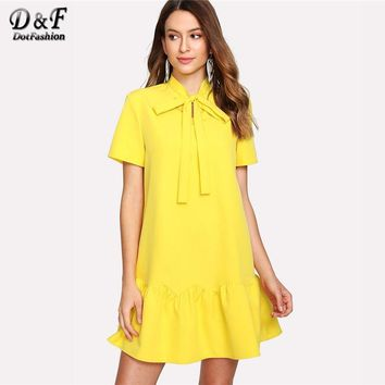 Dotfashion Tied Neck Solid Ruffle Hem Dress Summer Short Sleeve Stand Collar Elegant Dress Women Yellow Drop Waist Mini Dress