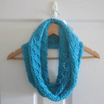 Blue Scarf - Eco Conscious - Knit Infinity Scarf - Made in Canada - Loop Scarf - Circle Scarf - Eternity Scarf - Eco Friendly - Hand Knit