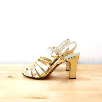 Shop Gold Strappy Sandals Heels on Wanelo