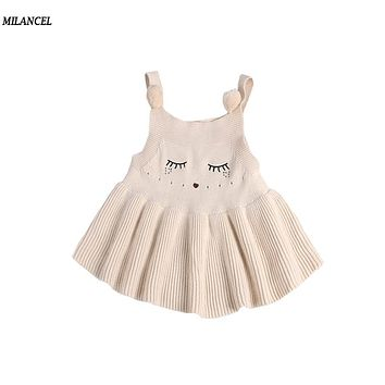 Milancel 2017 New Autumn Dress Baby Girls Cute Cat Dress Infant Knitted Girls Clothing Sleeveless Kids Clothes