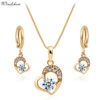 Cute Yellow Gold Color Love Heart Pave Zircon Pendant Necklace Earrings Small Jewelry Sets for Womens Children Girls Baby Kids