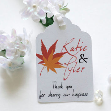 Fall wedding favor tags, personalized tags, wedding favor tags, party favor tags, thank you tags - 30 count