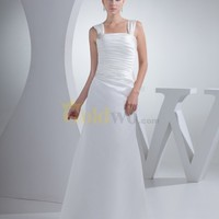 [US$199.99] Square Neckline Pleated Satin Wedding Dress