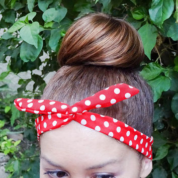 Rosie the Riveter Dolly Bow Bandana Red White Polkadots Dolly Bows Wire Headband Red Bandana 50s headband wrap bow Pin Up Hair Accessories