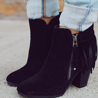 Never Failing Fringe Bootie - Black