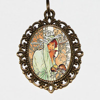 Winter Goddess Necklace, Alphonse Mucha, Art Nouveau Jewelry, Bohemian, Winter Jewelry, Oval Pendant