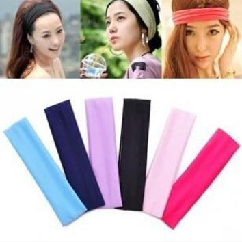 Free Shipping Wide Variety of plain hair band headband elastic headband sports yoga towel color optional  A256
