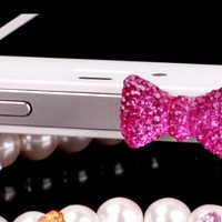 Bow 3.5mm Dustproof Plug Earphone Cover Stopper for iPhone 5 4 iPad iPod Touch