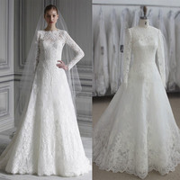 Real Photo Custom Made New A Line Lace Wedding Dresses Long Sleeves White Vintage Wedding Bridal Gowns Vestido De Noiva