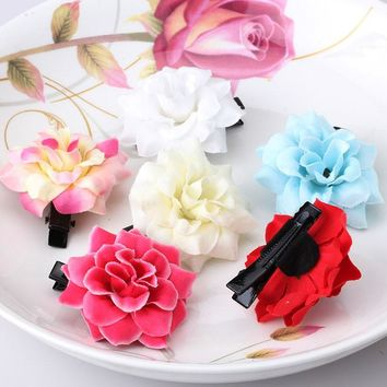 1PC Baby Girls Fabric Peony Flower Headwear Hairpins Children Accessories Ornaments Hair clip for Princess Dress