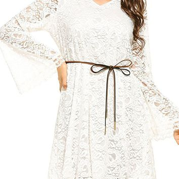 Pure Color Plus Size Long Sleeves Lace Short Dress