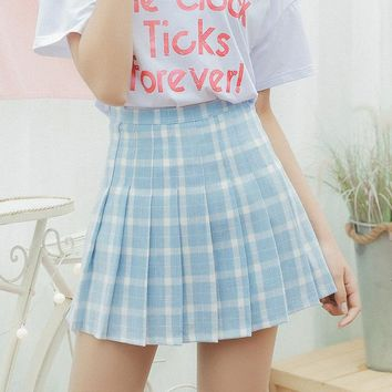 Harajuku Women Skirt Japanese Preppy Style Pleat Skirts Mini Cute School Uniforms Saia Faldas Ladies Jupe Kawaii Skirt SK6668
