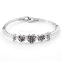 Fashion Adjustable Full Rhinestone Triple Heart Bangle Bracelet at fashion jewelry store Gofavor